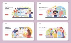 KPI web banner or landing page set. Employee evaluation, testing form and report, worker performance review. Staff management, empolyee development. Isolated flat vector illustration