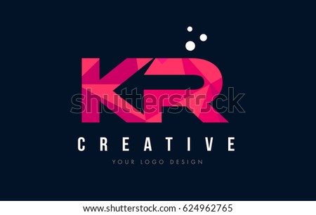 KR K R Purple Letter Logo Design with Low Poly Pink Triangles Concept Zdjęcia stock ©