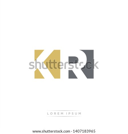 KR Logo Letter with Modern Negative space - Dark Yellow and Grey Color EPS 10 Stock fotó ©