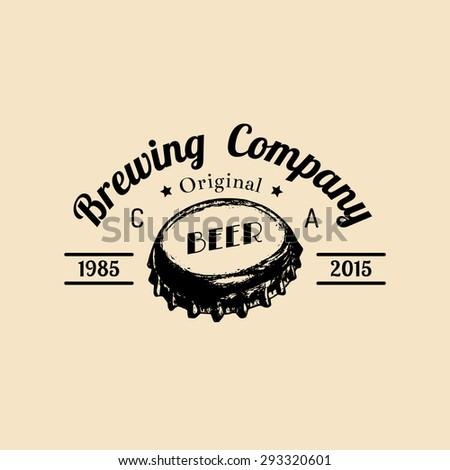 Kraft beer bottle cap logo. Old brewery icon. Hand sketched ale illustration. Vector vintage lager label or badge. #293320601