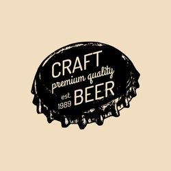 Kraft beer bottle cap logo. Old brewery icon. Lager retro sign. Hand sketched ale illustration. Vector vintage label or badge.