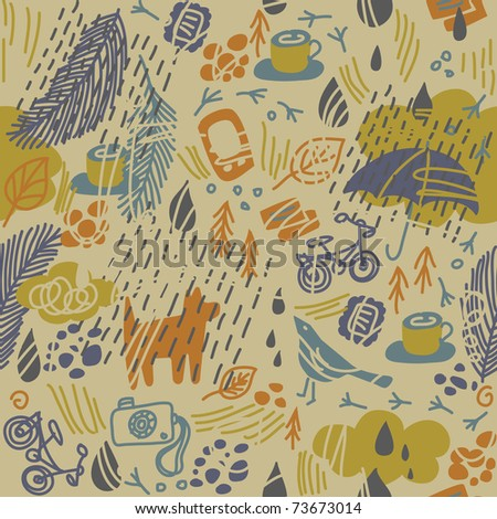 Kraft drawing seamless pattern. Rain in the city. Hand-drawing funny vector colored ornament.
