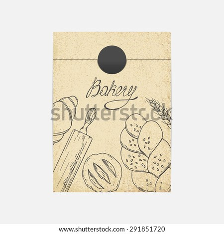 Kraft paper takeaway bag mockup in vector. Sketched illustration with baking objects. Bakery branding template