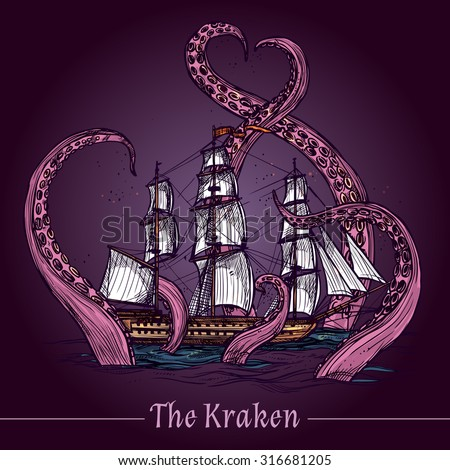 kraken decorative emblem with