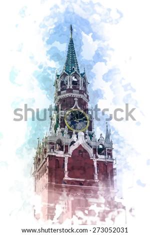 kremlin battlement in moscow