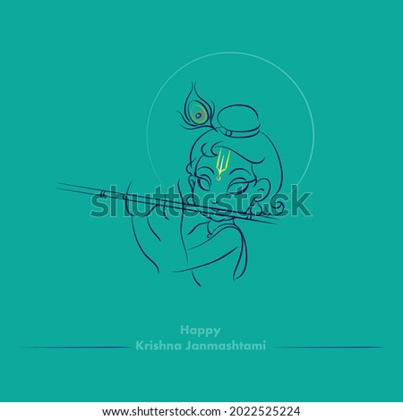 krishna janmashtami colors vector illustration
