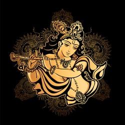 Krishna Janmashtami - Hindu festival. Hare Krishnas. Golden Krishna playing a flute on a black background and the mandala background