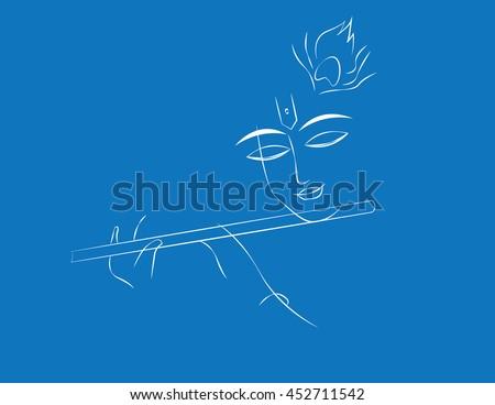 krishna line art