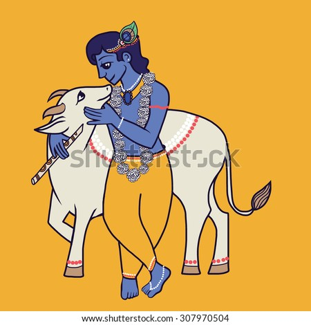 krishna with holy cow and flute
