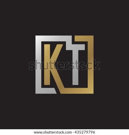 KT initial letters looping linked square elegant logo golden silver black background Stok fotoğraf ©