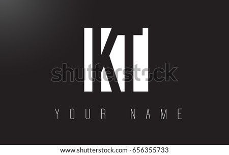 KT Letter Logo With Black and White Letters Negative Space Design.