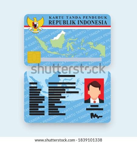 KTP indonesia id card Vector illustration flat design Stock fotó ©