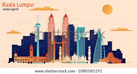 Kuala Lumpur city colorful paper cut style, vector stock illustration. Cityscape with all famous buildings. Skyline Kuala Lumpur city composition for design