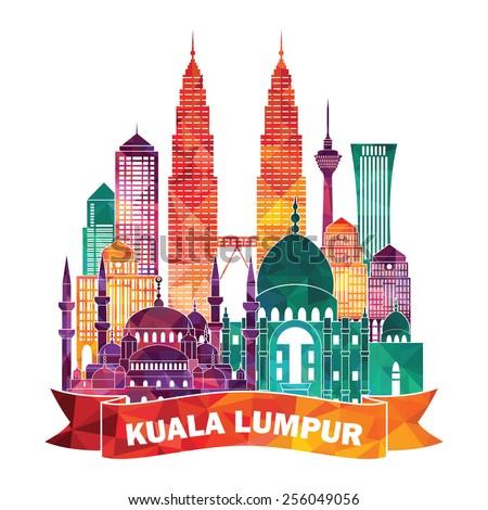 Kuala Lumpur detailed silhouette Vector illustration