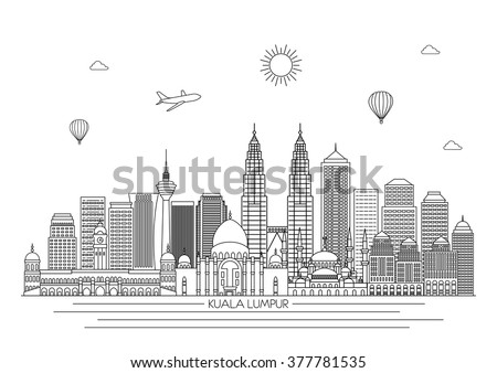 kuala lumpur detailed skyline