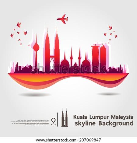 Kuala Lumpur Malaysia skyline background vector Illustration