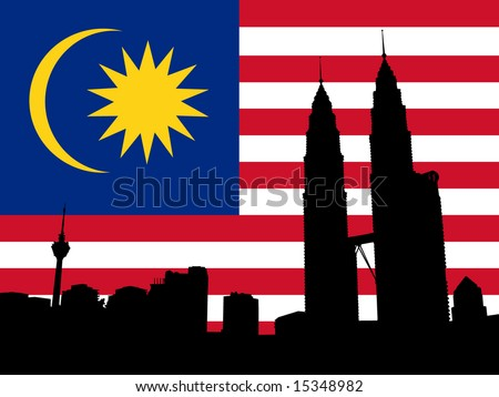 Kuala Lumpur skyline and Petronas Towers with flag illustration