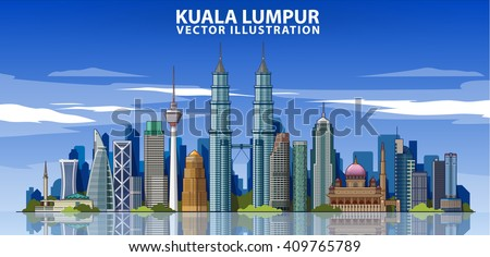 kuala lumpur skyline detailed