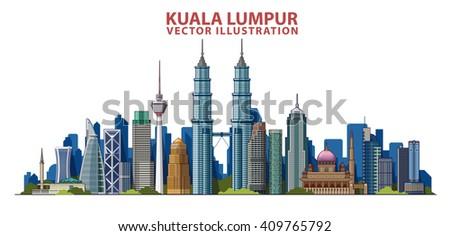 kuala lumpur skyline  vector