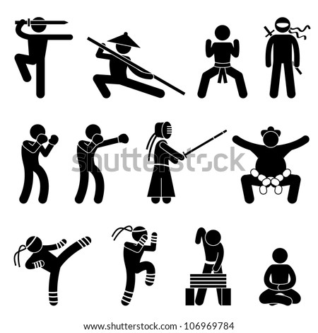 Kung Fu Martial Arts Self Defense Chinese Wushu Ninja Boxer Kendo Sumo Muay Thai Icon Symbol Sign Pictogram