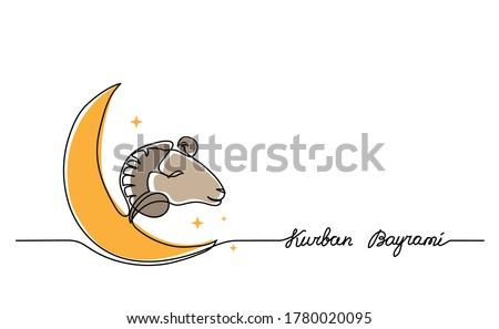 Kurban Bayrami simple vector background, web banner with sheep goat and crescent. One continuous line drawing of sheep and moon for Kurban Bayrami.