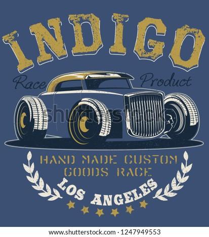 kustom hot rod cars illustration t shirt print