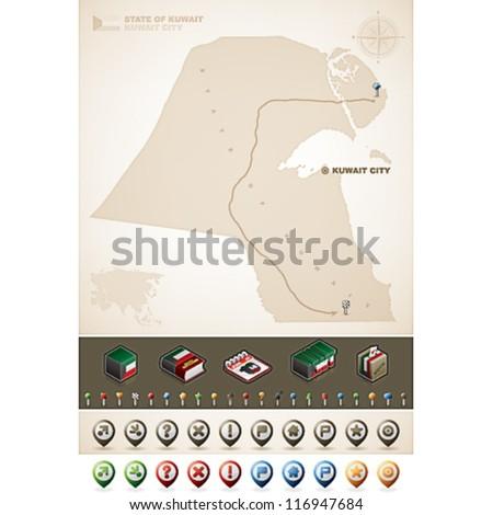 Kuwait and Asia maps, plus extra set of isometric icons & cartography symbols set