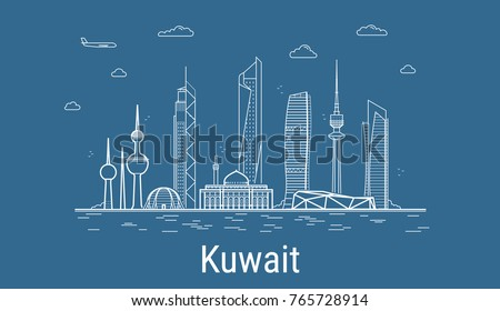 Kuwait city, Line Art Vector illustration with all famous buildings. Linear Banner with Showplace. Composition of Modern buildings, Cityscape. Kuwait buildings set ストックフォト ©