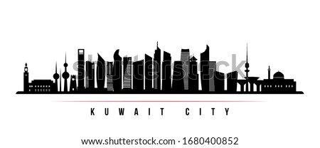 Kuwait city skyline horizontal banner. Black and white silhouette of Kuwait city. Vector template for your design.