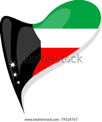 kuwait flag button heart shape. vector - stock vector
