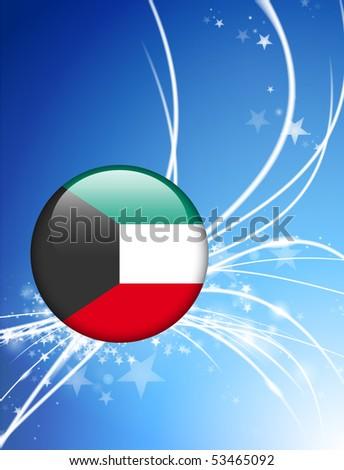 Kuwait Flag Button on Abstract Light Background Original Illustration