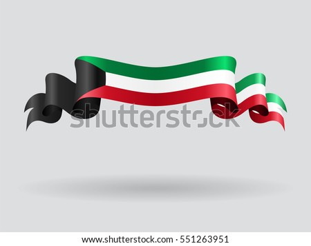 Kuwait flag wavy abstract background. Vector illustration.