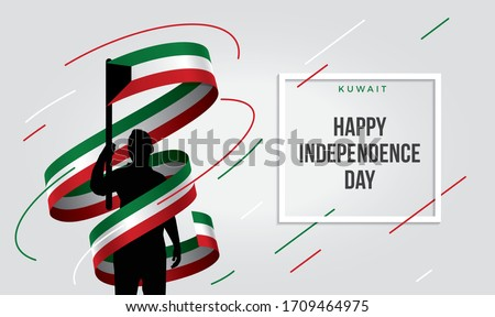 Kuwait Kuwaiti flag standing over isolated white background stressed with hand ... Glad teenager man waving flag of Kuwait and young, national holiday.
