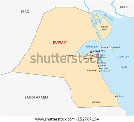 Kuwait Map Vector Kuwait Map Stock Vector