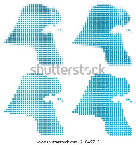 Kuwait map mosaic set. Isolated on white background.