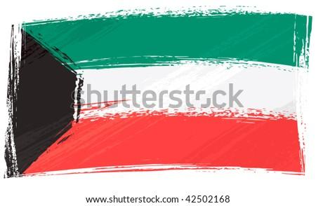 Kuwait national flag created in grunge style