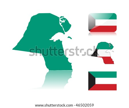 Kuwaiti map including: map with reflection, map in flag colors, glossy and normal flag of Kuwait.