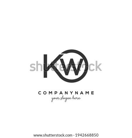 KW Initial letter logo inside circle shape inside rounded black monogram Foto stock ©