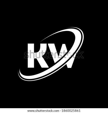 KW K W letter logo design. Initial letter KW linked circle uppercase monogram logo black and white. KW logo, K W design. kw, k w Foto stock ©