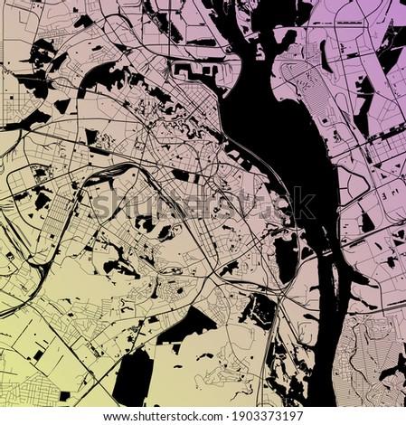 Kyiv (Kiev), Ukraine - Urban vector city map with parks, rail and roads, highways, minimalist town plan design poster, city center, downtown, transit network, gradient blueprint