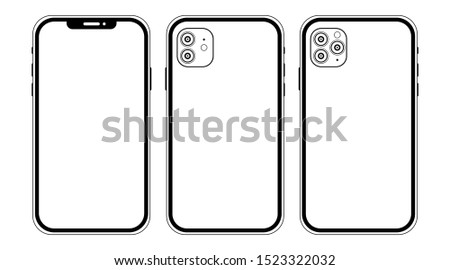 Kyiv, Ukraine - October, 6, 2019: New Iphone 11, 11 Pro icon. Front and back side. Smartphone mock up with white screen. Illustration for app, web, presentation, design.