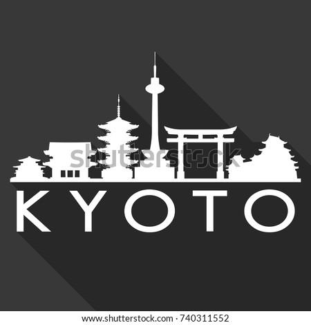 kyoto flat icon skyline