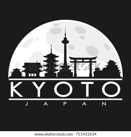 kyoto full moon night skyline