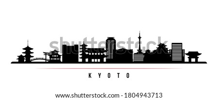 Kyoto skyline horizontal banner. Black and white silhouette of Kyoto City, Japan. Vector template for your design.  Foto stock ©