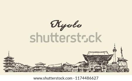 kyoto skyline  japan  hand