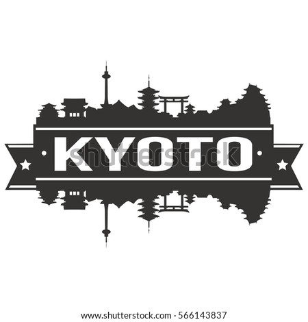 kyoto skyline stamp silhouette