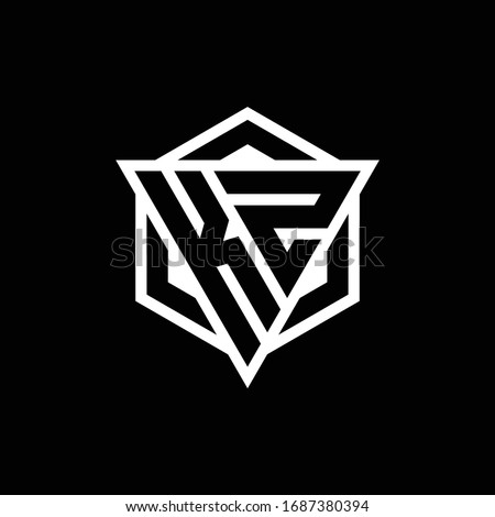 KZ logo monogram with triangle and hexagon shape combination isolated on back and white colors Stok fotoğraf ©