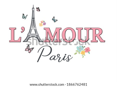 L'amour - love in french - slogan graphic with embroidery  Photo stock ©