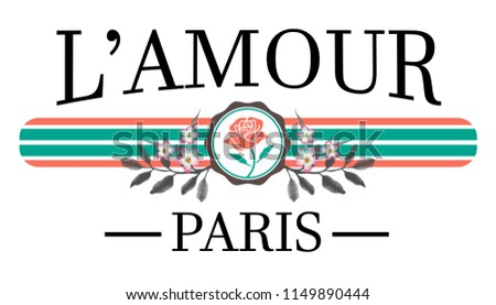 L'amour - love in french - slogan graphic with embroidery for t-shirt print