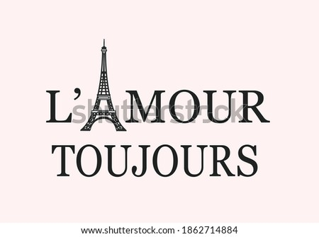 l'amour toujour (love always in engilish)butterfly hand leopard flower butterfly butterflies and daisies positive quote flower design margarita  mariposa stationery,mug,phone case fashion slogan   Photo stock ©